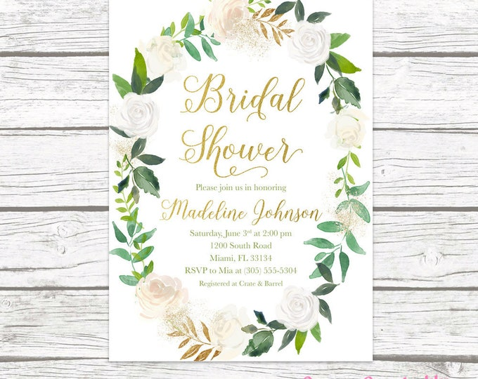 Green Baby Shower Invitation, Baby Shower Brunch Invitation, Gender Neutral Baby Shower Invitation, Rustic Baby Shower Invite, Floral Wreath