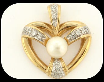 Simon Golub 14K Yellow Gold Cultured Pearl & 0.14CT Diamond Heart PENDANT