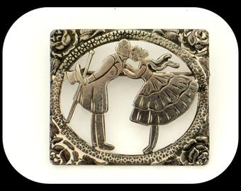 Art Deco Dancing Couple Sterling Silver BROOCH