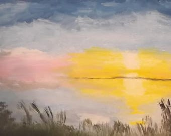 """Original oil painting on canvas lakeside sunset impressionism signed by artist V. Anstey size 14"""" X 18"""""""