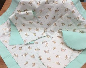 Teddy Bear /Mint color Receiving Blanket Set. Reversible Cozy, Soft Flannel Blanket, 2 Styles Burp Pads. 3 Piece Set.