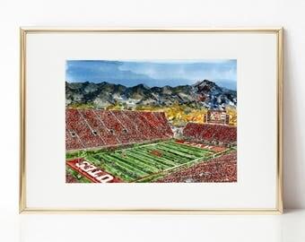Rice-Eccles Stadium, Utes, Utah Football, watercolor print