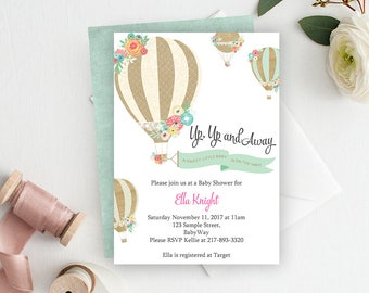Up Up and Away Baby Shower Invitation, Hot Air Balloon, Baby Shower Invite, Printable Invitation, Balloon Invitation, Balloon Baby Shower -