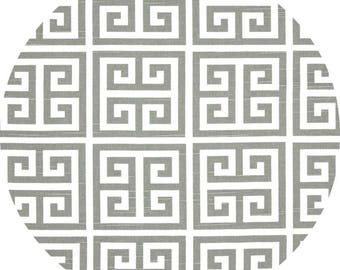 Set of 4 Round placemats, cotton table linens, towers greek key ash gray, grey white