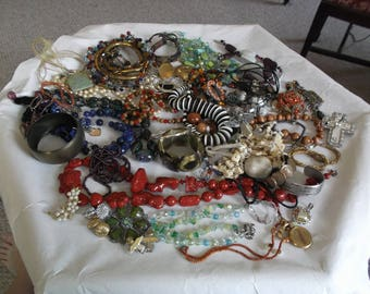 Large Lot of Vintage Jewelry - for repurpose, crafts, to wear, all are wearable!