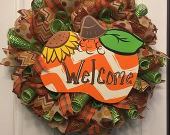 Autumn Wreath, Fall Wreath, Welcome Wreath, Front Door Wreath, Halloween Wreath, Pumpkin Wreath