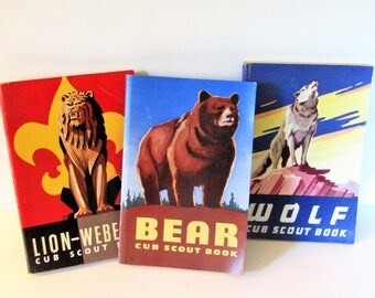 Vintage 1954 Cub Scout Books: Wolf, Lion-Webelos and Bear Handbooks-3 books