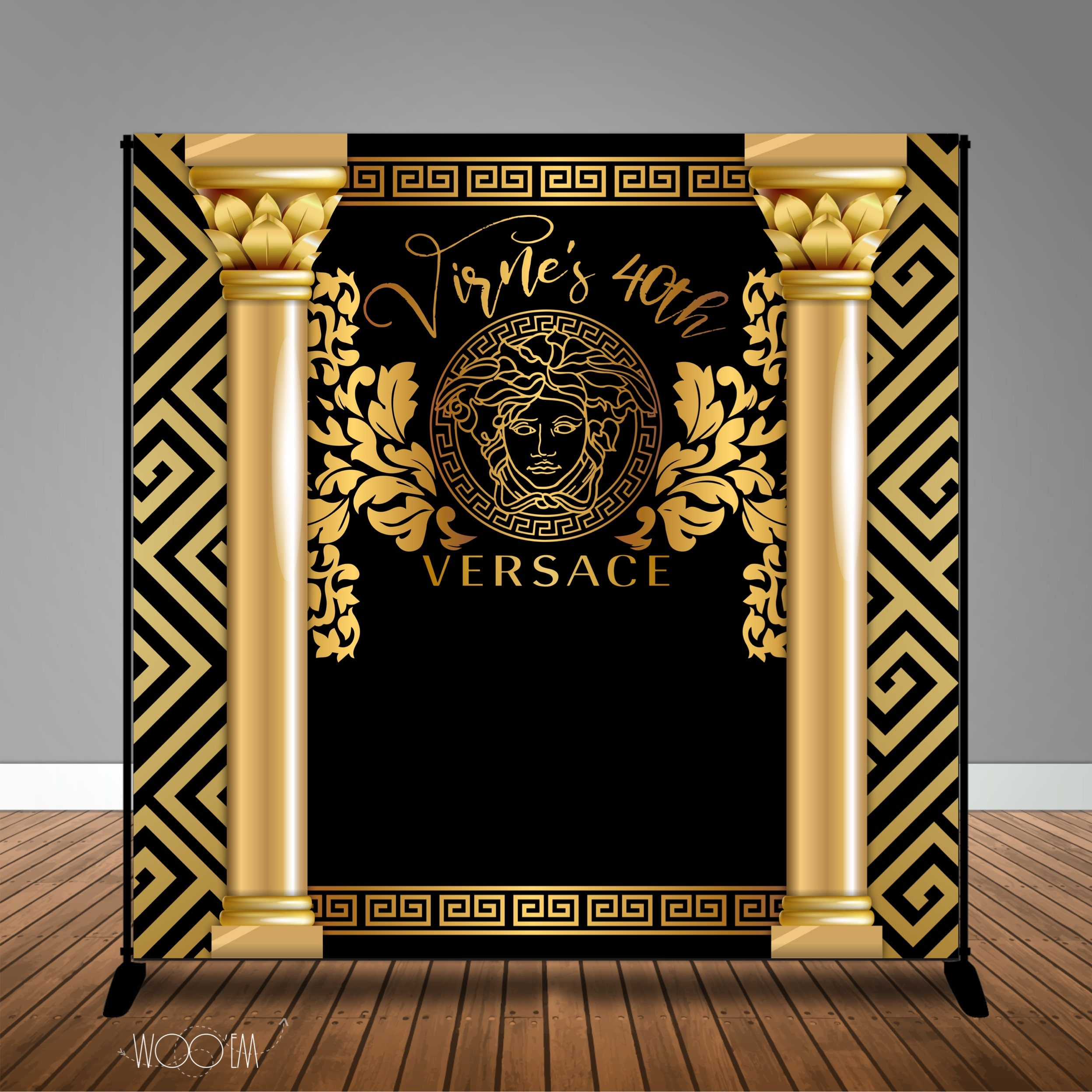 Versace Themed Birthday 8x8 Banner Backdrop Step amp Repeat