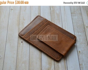ON SALE Distressed Genuine Leather Credit Card Case with Money Clip - Brown
