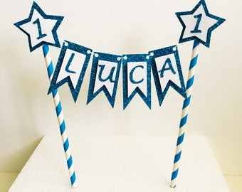 Bunting Name Cake Topper,  Cake Banner, Glitter Topper, First Birthday, Cake Garland, Any Name, Garland  Cake Top, Customised, Cake Smash