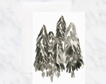 Tree Card - Nature Card - Friendship Card - Thinking of You Card - Blank Card - Watercolor Card - Birthday Card - Greeting Card - Black Card