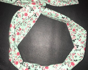 Mint Green with Pink Floral Wired Headband