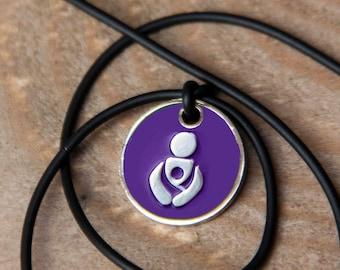 Purple Babywearing token black cord necklace