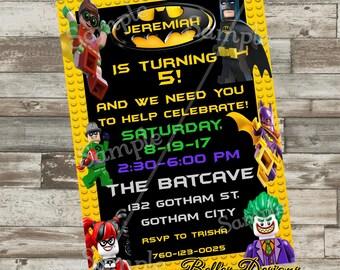 Batman Birthday Invitations, Batman Party Invites, Batcave Party, Batman Party, SuperHero Invite, Robin, Joker,Harley Quinn,  Digital File