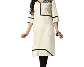 Indian Off White Khadi Pure Cotton Kurti Kurta for Ethnic Women Tunic Dress