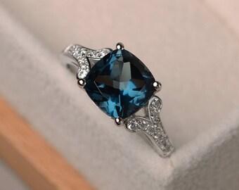 London blue topaz ring, cushion cut wedding engagement ring, sterling silver ring,blue gemstone ring,November birthstone ring