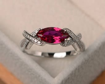 Wedding ring, ruby ring, July birthstone ring, marquise cut red gemstone, sterling silver ring