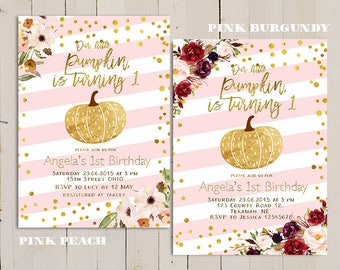 pink gold pumpkin first birthday invitation, our little pumpkin is turning one, pink sweet pumpkin invite, fall pink and gold invitation