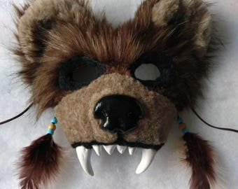 SOLD Spirit/Totem Qnimal Mask (Grizzly Bear) (AVAILABLE made to order, see below for details)