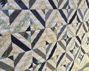 ON SALE Summer in the park quilt- modern quilt- full size quilt- queen quilt- twin quilt- homemade quilt- full quilt- Moda True Blue- full s
