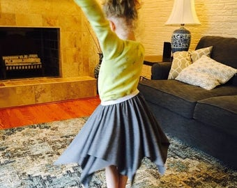 ON SALE Girls Twirling Skirt- Circle Square Skirt- Double Layer- Made to Order