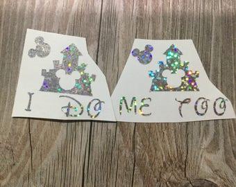 I do me too stickers  wedding shoe stickers wedding vinyl decal shoe i do me too glitter