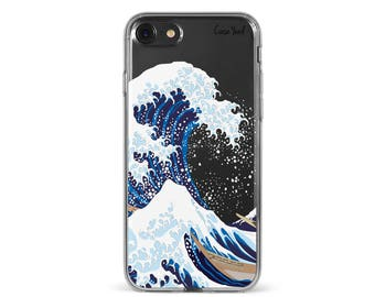 iPhone 8 Case Clear iPhone 8 Plus Case iPhone X Case iPhone 7 Plus case Clear iPhone 7 Case iPhone 6 Case Samsung S8 Case,Kanagawa Wave