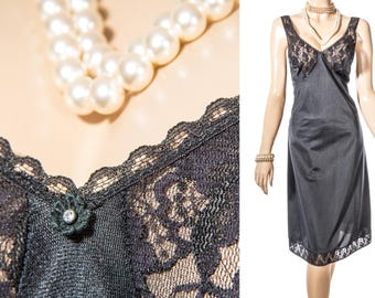 Seductive as new 'Triumph' soft shimmering classic black nylon and delicate matching floral lace 1980's vintage full slip petticoat - S339