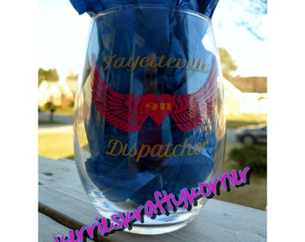personalized 911 wine glass tumbler