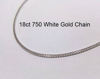 18ct 18K 750 Solid White Gold Franco Chain Necklace for Pendant Jewellery - PS58
