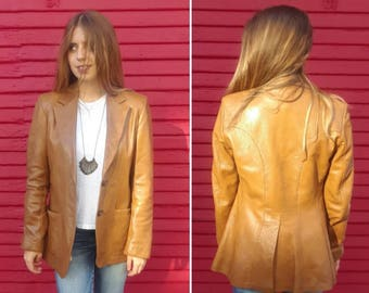 Vintage 60s leather jacket // 60s leather blazer // Camel brown // Lady Scully // Buttery soft leather // Western style // XS