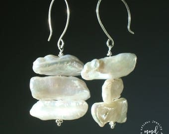 Freshwater Multi Stick Pearl and Sterling Silver Large Dangle Earrings