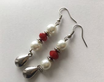 Pearl and red crystal earrings, dangle earrings