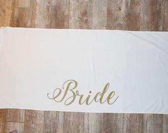 Bride Beach Towel ; Personalized Bridal Bachelorette Towels ; Honeymoon , Bride to be , gift ; Bridal Party ; Custom