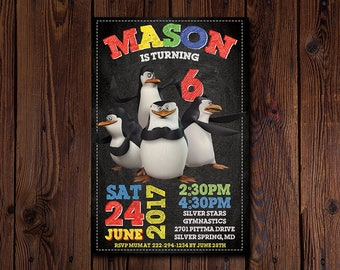 Penguins of Madagascar Invitation, Penguins of Madagascar Birthday Party, Dreamworks, Personalized, Printable, Chalkboard, Digital File