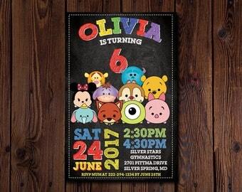 Tsum Tsum Invitation, Tsum Tsum Birthday Party, Disney Cartoon, Disney Tsum, Donald, Mouse, Kitty, Personalized, Printable, Digital File