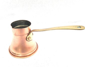Handmade Briki, Turkish Coffee Maker, Rustic Copper and Brass, Ibrik, Cezve, Jezve, Medium Size 150ml Capacity, Good Condition