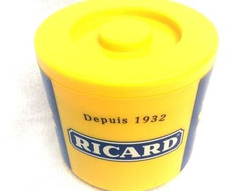"Ricard Ice Bucket, 1970's Iconic Yellow, Made in France, Iconic Brand, Mid Century Parisian Bar / Cafe Ware, 8"" x 7"", Fabulous!"