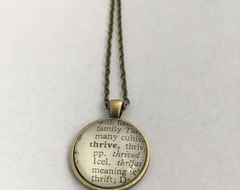 THRIVE Vintage Dictionary Word Pendant