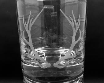 Whiskey Glass, Etched Whiskey Glasses, Deer Rack, Rocks Glasses, 11 oz Whiskey Glasses, Set of 2 Whiskey Glasses, Deer Hunter Glasses