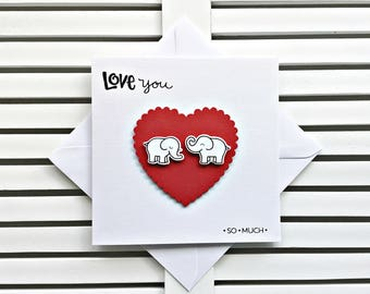Birthday Card, Husband, Girlfriend, Boyfriend, Wife, Romantic Elephants, Love Card, Cute Anniversary Card, Elephant Card, LU203