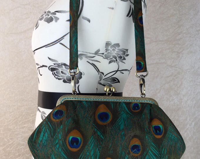 Peacock Feathers Grace handbag purse bag clutch fabric handmade in England
