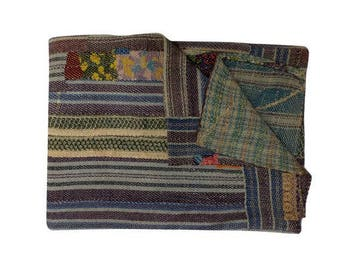 Buy recycle fabric Handmade stitched Kantha Quilt and Twin Vintage Kantha throw blankets, Patchwork Quilted Bedcover