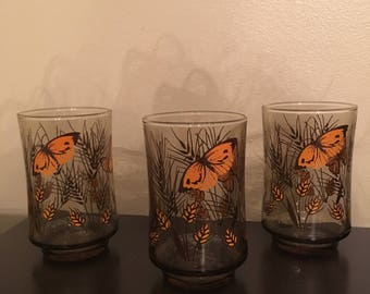 3 Vintage 1970s Libbey Butterfly Wheat Drinkware Glasses