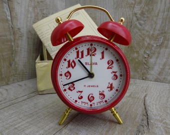 Vintage alarm clock Slava 11 stones Working old clock Rare table clock USSR RED alarm clock Mechanical alarm clock