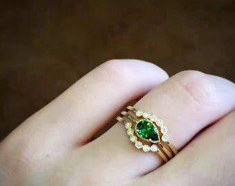 0.5 Carat Tsavorite Engagement Ring Set Tsavorite Wedding Set Green Stone Ring Green Stone Engagement Ring Green Stone Ring Set Bridal Set
