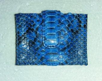 Genuine Python Snakeskin Leather Card Holder Blue