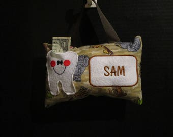 Tooth Fairy Pillow, Boys Tooth Fairy Pillow,Personalized Tooth Fairy Pillow,Jungle Animals Tooth Fairy Pillow,Zoo Animals Tooth Fairy Pillow