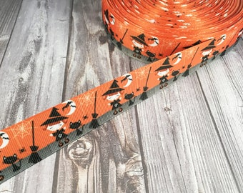 Witch ribbon - Halloween ribbon - Black cat ribbon - Halloween fun - Halloween bow diy - Halloween headband diy - Orange black ribbon