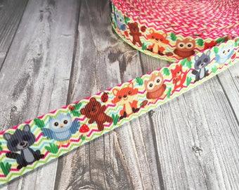 Animal ribbon - Teddy bear ribbon - Fox ribbon - Owl ribbon - Trash panda ribbon - Racoon ribbon - Chevron ribbon - Grosgrain ribbon
